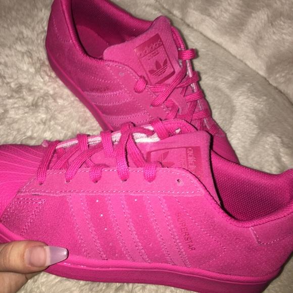 26c0b1b9e7e7 adidas Shoes   Hot Pink Suede Superstar Originals   Poshmark